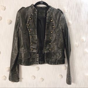 BRAND NEW UNIQUISM NEW YORK FAUX LEATHER JACKET